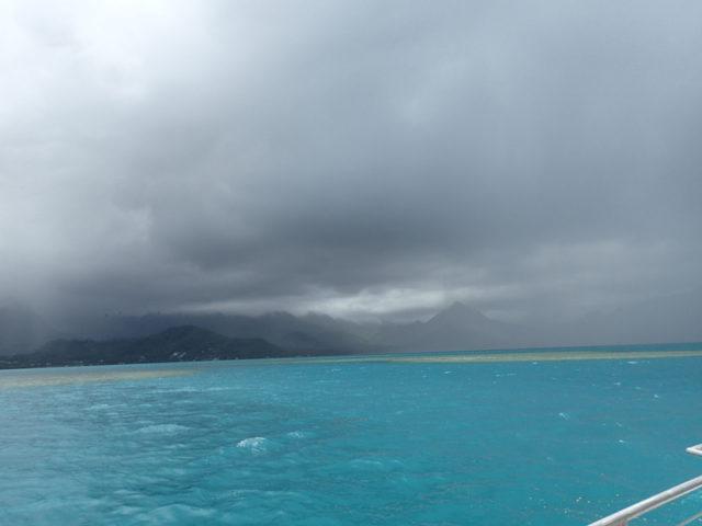 島の方はすごい雨だった